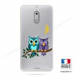Coque Nokia 6 souple motif chouettes au clair de lune - Crazy Kase