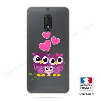 Coque Nokia 6 souple motif Famille Chouette - Crazy Kase