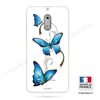 Coque Nokia 6 souple motif Papillon et Arabesque sur fond blanc - Crazy Kase