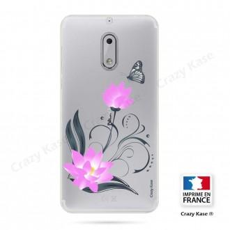 Coque Nokia 6 souple motif Fleur de lotus et papillon- Crazy Kase
