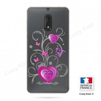 Coque Nokia 6 souple motif Cœur et papillon - Crazy Kase