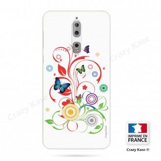 Coque Nokia 8 souple motif Papillons et Cercles sur fond blanc - Crazy Kase