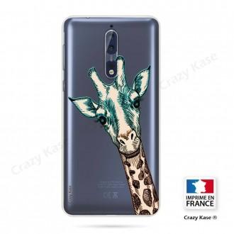 Coque Nokia 8 souple motif Tête de Girafe - Crazy Kase