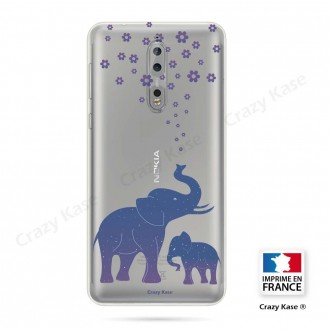 Coque Nokia 8 souple motif Eléphant Bleu - Crazy Kase