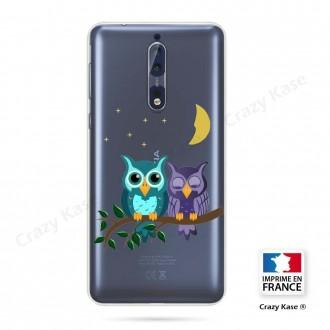 Coque Nokia 8 souple motif chouettes au clair de lune - Crazy Kase