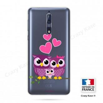 Coque Nokia 8 souple motif Famille Chouette - Crazy Kase