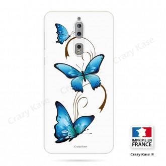 Coque Nokia 8 souple motif Papillon et Arabesque sur fond blanc - Crazy Kase