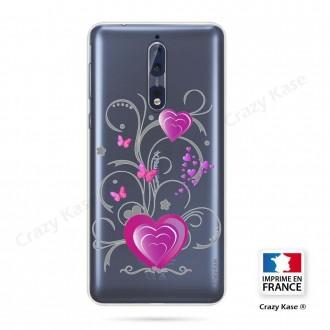Coque Nokia 8 souple motif Cœur et papillon - Crazy Kase