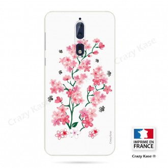Coque Nokia 8 souple motif Fleurs de Sakura sur fond blanc - Crazy Kase