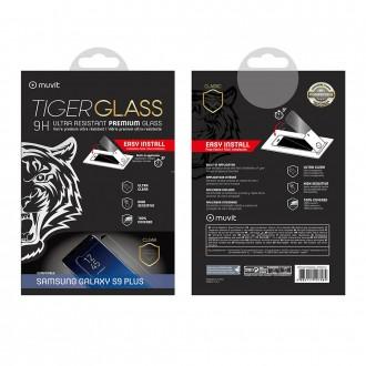 Film Galaxy S9+ protection écran verre trempé incurvé avec applicateur - Muvit