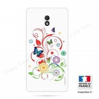 Coque Nokia 3 souple motif Papillons et Cercles sur fond blanc - Crazy Kase