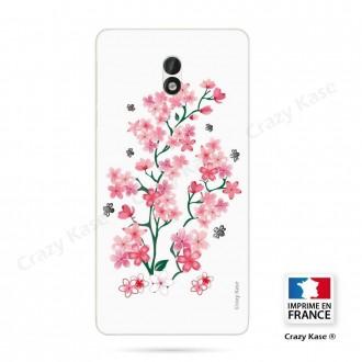 Coque Nokia 3 souple motif Fleurs de Sakura sur fond blanc - Crazy Kase