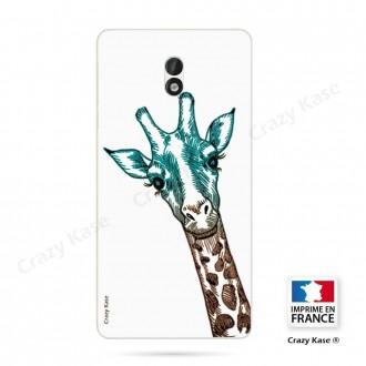 Coque Nokia 3 souple motif Tête de Girafe sur fond blanc - Crazy Kase