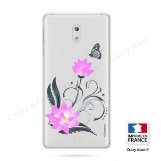 Coque Nokia 3 souple motif Fleur de lotus et papillon- Crazy Kase