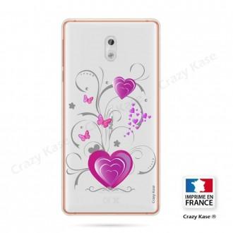 Coque Nokia 3 souple motif Cœur et papillon - Crazy Kase