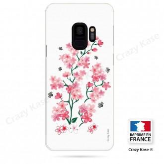 Coque Galaxy S9 souple motif Fleurs de Sakura sur fond blanc - Crazy Kase
