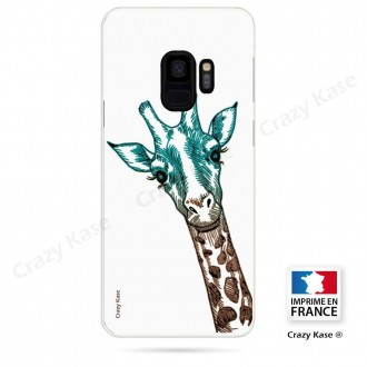 Coque Galaxy S9 souple motif Tête de Girafe sur fond blanc - Crazy Kase