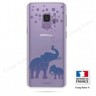 Coque Galaxy S9 souple motif Eléphant Bleu - Crazy Kase