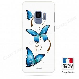 Coque Galaxy S9 souple motif Papillon et Arabesque sur fond blanc - Crazy Kase
