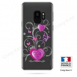 Coque Galaxy S9 souple motif Cœur et papillon - Crazy Kase