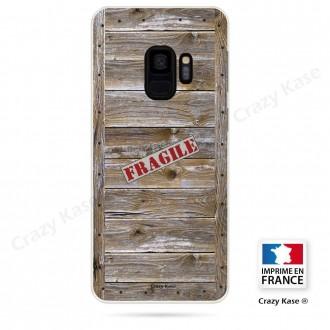 Coque Galaxy S9 souple effet Caisse en bois - Crazy Kase