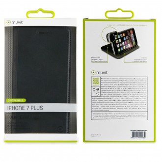 Etui iPhone 8 Plus / 7 Plus Porte cartes Noir - Muvit