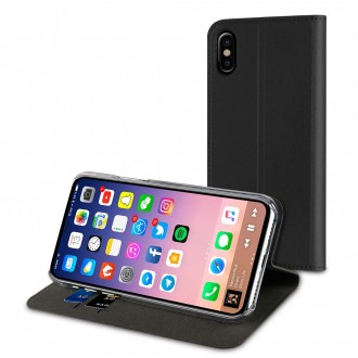 Etui iPhone X Porte cartes Noir - Muvit