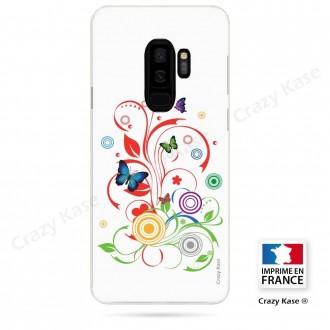 Coque Galaxy S9+ souple motif Papillons et Cercles sur fond blanc - Crazy Kase