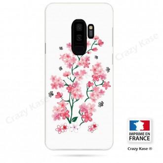 Coque Galaxy S9+ souple motif Fleurs de Sakura sur fond blanc - Crazy Kase