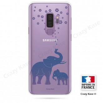 Coque Galaxy S9+ souple motif Eléphant Bleu - Crazy Kase