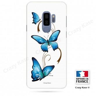 Coque Galaxy S9+ souple motif Papillon et Arabesque sur fond blanc - Crazy Kase