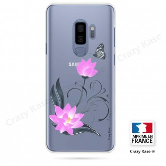 Coque Galaxy S9+ souple motif Fleur de lotus et papillon- Crazy Kase