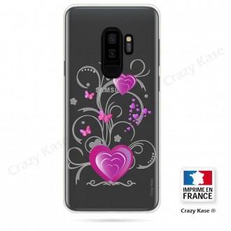 Coque Galaxy S9+ souple motif Cœur et papillon - Crazy Kase