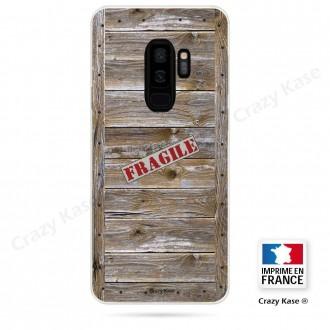 Coque Galaxy S9+ souple effet Caisse en bois - Crazy Kase
