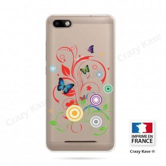 Coque Wiko Lenny 3 souple motif Papillons et Cercles - Crazy Kase