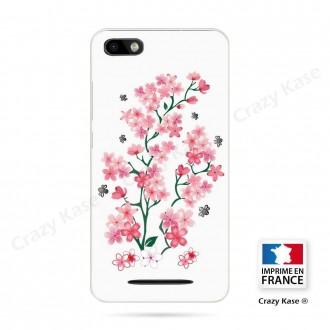 Coque Wiko Lenny 3 souple motif Fleurs de Sakura sur fond blanc - Crazy Kase