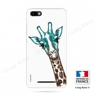 Coque Wiko Lenny 3 souple motif Tête de Girafe sur fond blanc - Crazy Kase