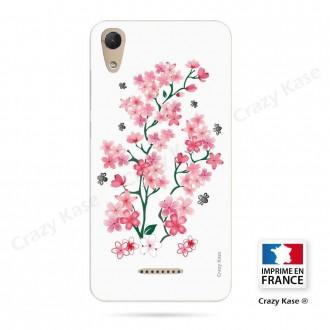Coque Wiko Lenny 4 souple motif Fleurs de Sakura sur fond blanc - Crazy Kase