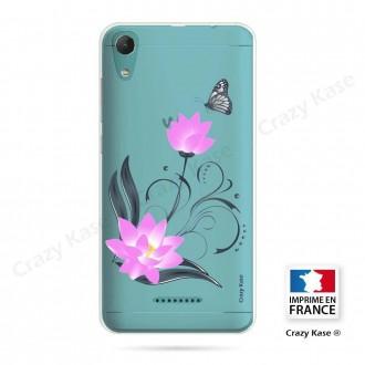 Coque Wiko Lenny 4 souple motif Fleur de lotus et papillon- Crazy Kase