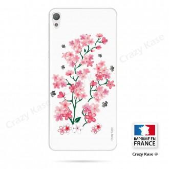 Coque Xperia E5 souple motif Fleurs de Sakura sur fond blanc - Crazy Kase