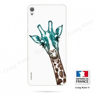 Coque Xperia E5 souple motif Tête de Girafe sur fond blanc - Crazy Kase