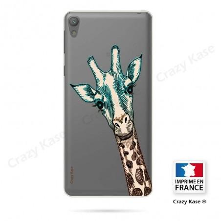 Coque Xperia E5 souple motif Tête de Girafe - Crazy Kase