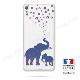 Coque Xperia E5 souple motif Eléphant Bleu - Crazy Kase