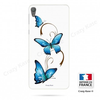 Coque Xperia E5 souple motif Papillon et Arabesque sur fond blanc - Crazy Kase