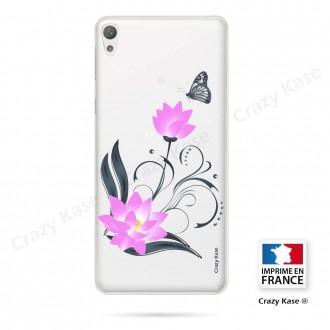 Coque Xperia E5 souple motif Fleur de lotus et papillon- Crazy Kase