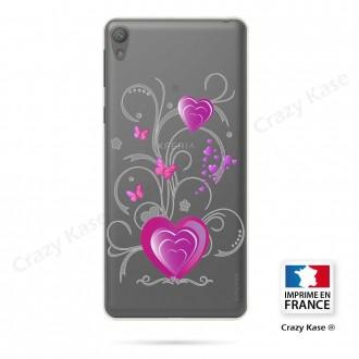 Coque Xperia E5 souple motif Cœur et papillon - Crazy Kase