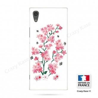 Coque Xperia XA1 souple motif Fleurs de Sakura sur fond blanc - Crazy Kase