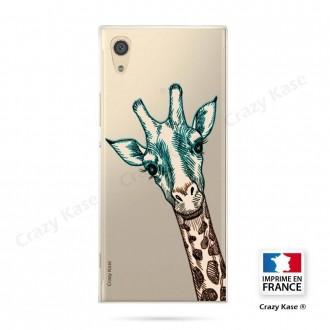 Coque Xperia XA1 souple motif Tête de Girafe - Crazy Kase