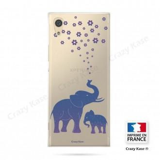 Coque Xperia XA1 souple motif Eléphant Bleu - Crazy Kase