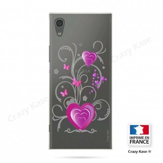 Coque Xperia XA1 souple motif Cœur et papillon - Crazy Kase
